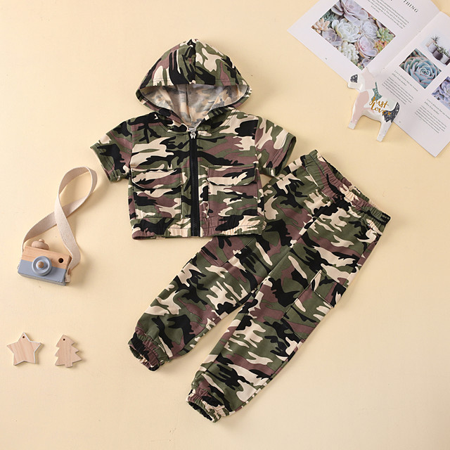 Kids Toddler Boys' Clothing Set Camouflage Print Short Sleeve Active Regular Army Green 2-6 Years