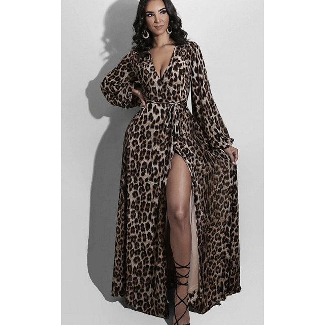 Dames A lijn jurk Maxi-jurk Bruin Lange mouw Luipaard Opdruk Herfst V-hals Elegant Informeel 2021 S M L XL XXL