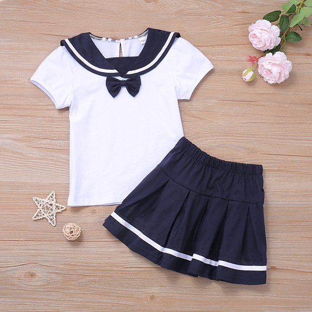 Kids Toddler Little Girls' Dress Black & White Striped Solid Colored School Uniforms Causal Ruched Ruffle Bow White Above Knee Short Sleeve Basic Cute Dresses Children's Day Regular Fit 3-8 Years