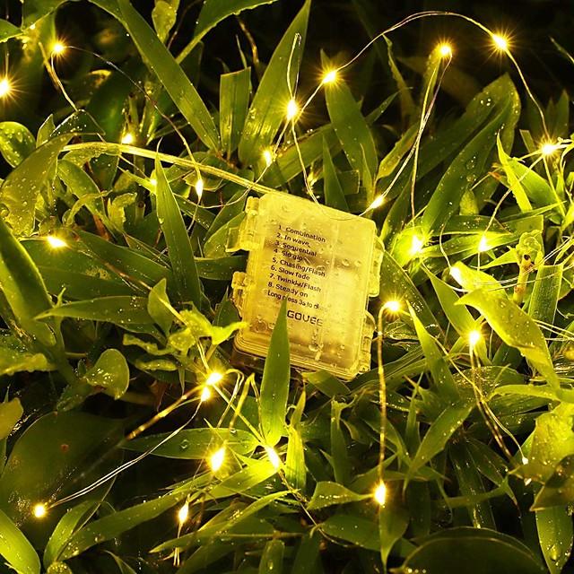 5m 10m 20m Guirlandes Lumineuses Télécommandes 50/100/200 LED 1 pc Blanc Chaud Blanc La Saint-Valentin Nouvel An Imperméable Extérieur Soirée Alimenté par des piles