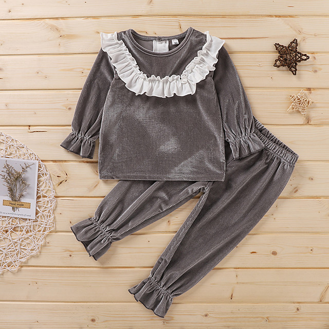 Toddler Girls' Clothing Set Solid Colored Ruffle Long Sleeve Active Regular Gray 2-6 Years