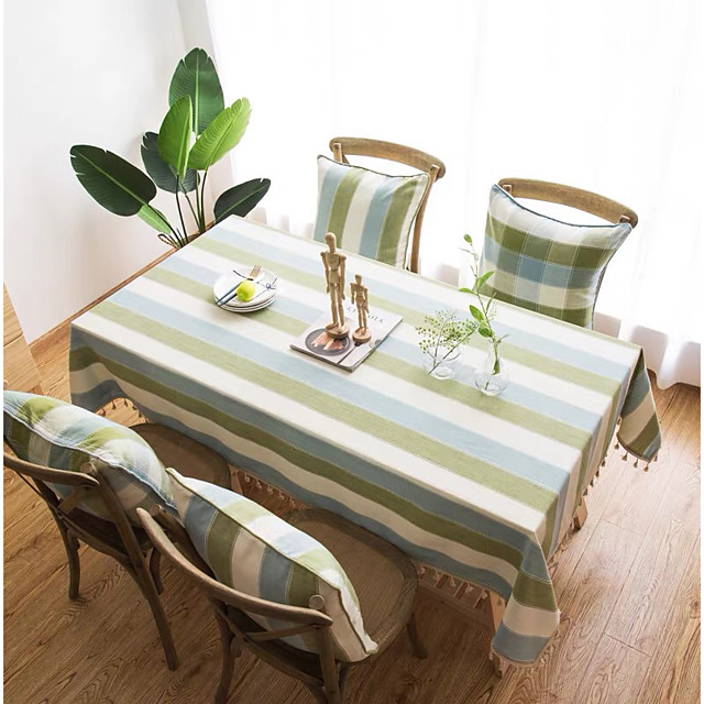 Table Cloth polyester fibre Dust-Proof Contemporary Striped Tabel cover Table decorations for Daily Wear rectangule 60*60/90*90/100*140/140*160/140*180/140*200/140*220/140*250/140*260/140*300 cm Blue