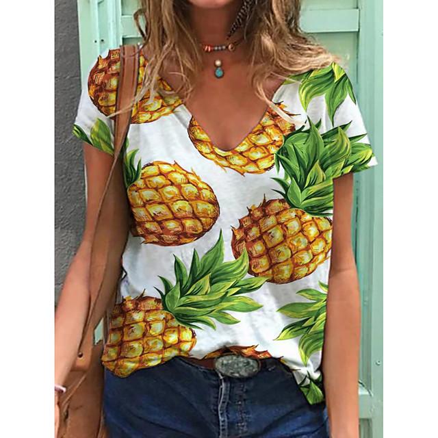 Women's T shirt Fruit Print V Neck Tops Cotton Basic Basic Top White