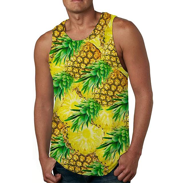 رجالي كنزة سترة قميص داخلي طباعة ثلاثية الأبعاد أناناس طباعة ثلاثية الأبعاد بدون كم مناسب للبس اليومي قمم كاجوال نمط الشاطئ أصفر
