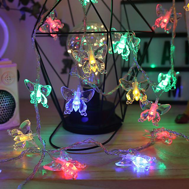1,5 m 3M 6m Guirlandes Lumineuses 10/20/40 LED 1 jeu Blanc Chaud Plusieurs Couleurs Noël Nouvel An Extérieur Soirée Décorative Piles AA alimentées