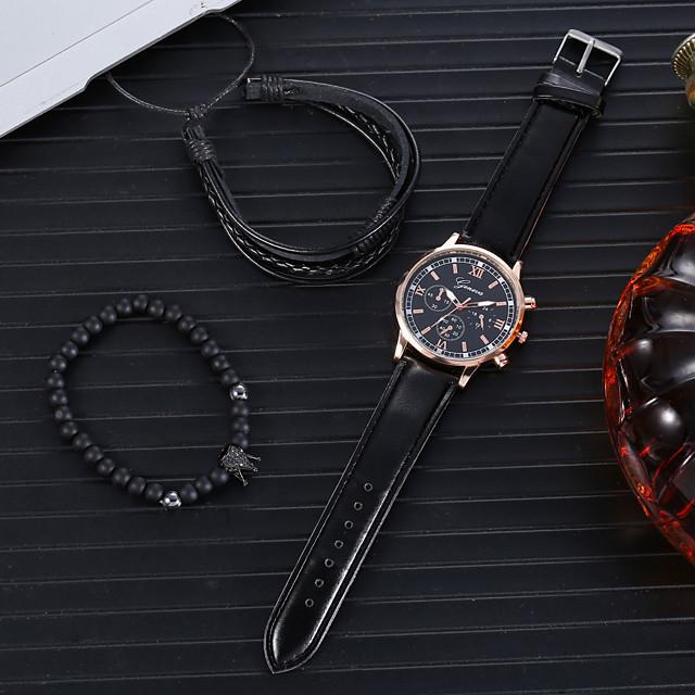 Men's Dress Watch Analog Quartz Classic Chronograph Fake Three Eyes Six Needles Large Dial / PU Leather