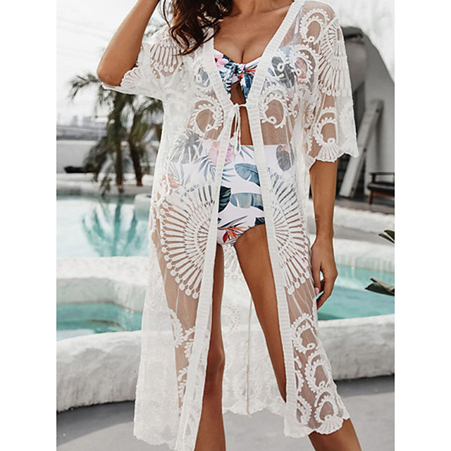 Women's Swimsuit Cover Up Beach Top Swimsuit Mesh Slim Solid Color Abstract White Black Swimwear T shirt Dress Tunic V Wire Bathing Suits New Fashion Sexy