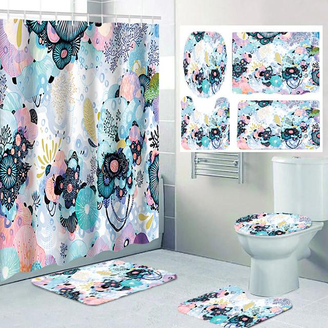 جميلة نمط زهرة هزلية الطباعة الحمام دش الستار الترفيه تصميم أربع قطع المرحاض