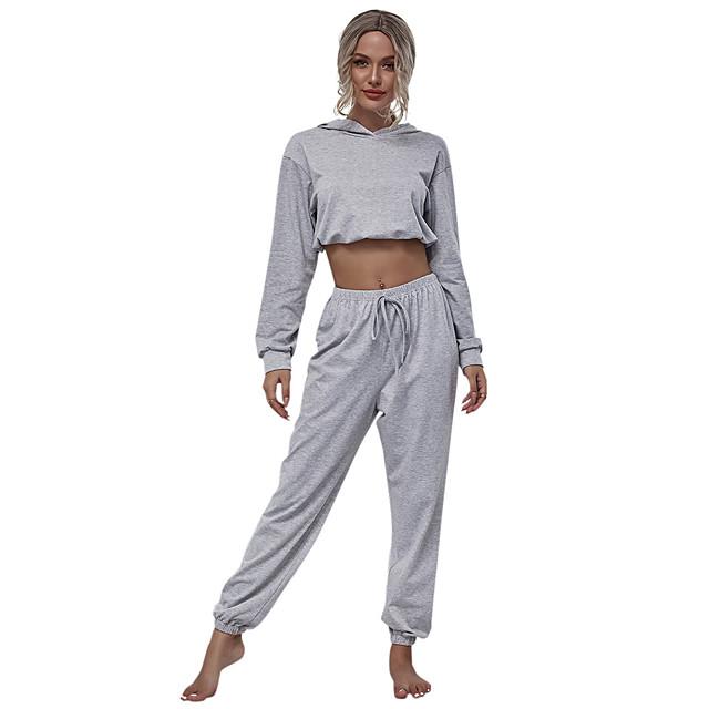 Women's Basic Streetwear Plain Daily Two Piece Set Hoodies & Sweatshirts Tracksuit Pant Loungewear Drawstring Tops
