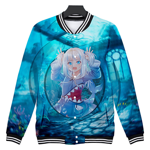 Inspired by Cosplay Gawr gura 100% Polyester Cosplay Costume Printing Graphic Coat For Men's / Women's