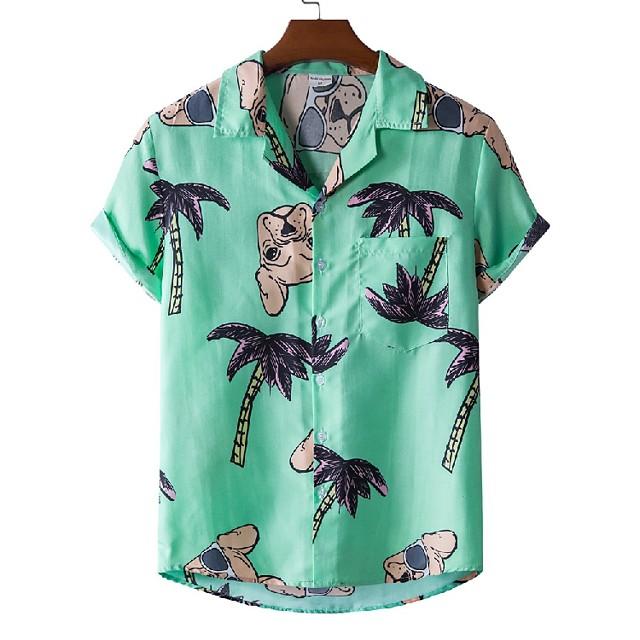 رجالي قميص مطبوعات أخرى كلب شجرة حيوان طباعة كم قصير فضفاض قمم نمط الشاطئ استوائي أخضر