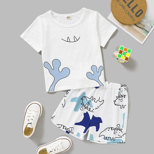 أطفال طفل صغير للفتيات مجموعة ملابس مناسب للبس اليومي الرسم طباعة كم قصير نشيط عادية فوق الركبة أبيض 2-8 سنوات