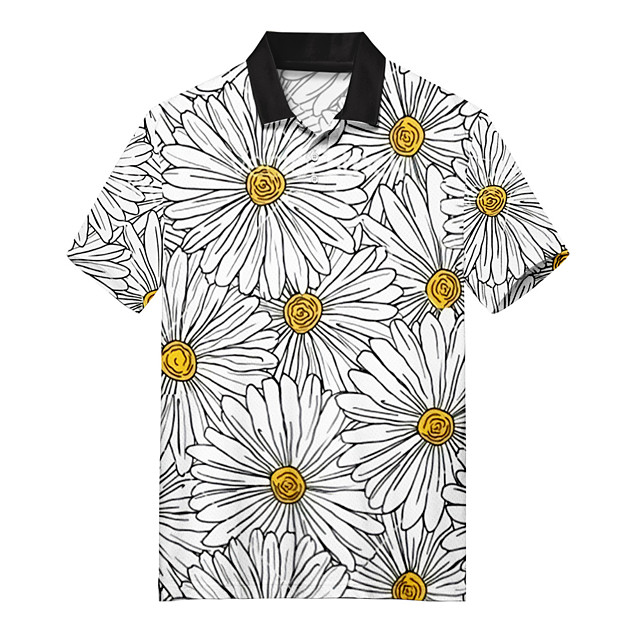 Polo Men's Floral Daisy 3D Print Button-Down Print Casual Short Sleeve Tops Casual Fashion Soft Breathable Gray