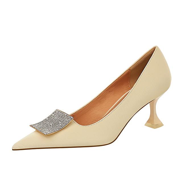 Women's Heels Stiletto Heel Pointed Toe PU Rhinestone Solid Colored White Black Yellow