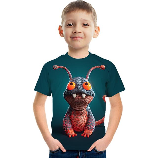 Kids Boys' Tee Short Sleeve Graphic Children Tops Active Green 3-12 Years