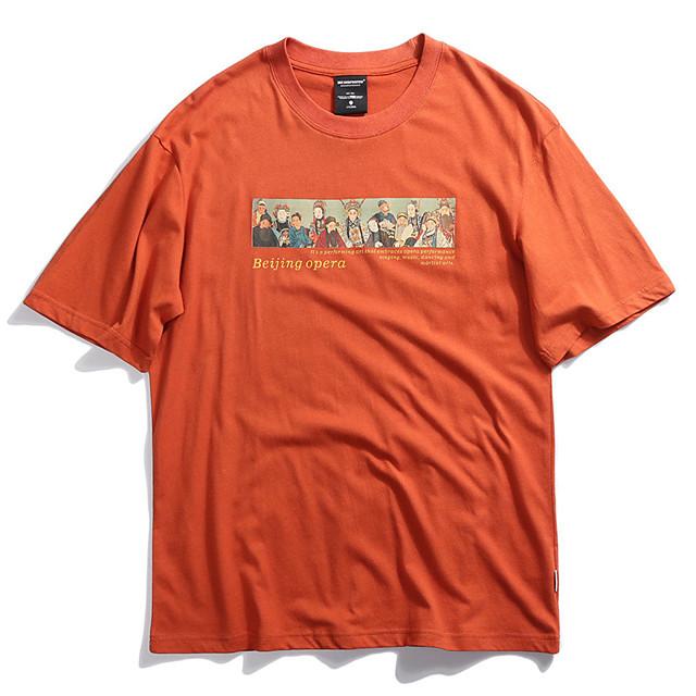Men's Unisex T shirt Hot Stamping Graphic Prints PekingOpera Plus Size Print Short Sleeve Casual Tops 100% Cotton Basic Chinese Style Casual Black Orange