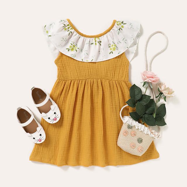 Kids Toddler Little Girls' Dress Polka Dot Graphic Print Yellow Knee-length Sleeveless Active Dresses Summer Regular Fit 2-8 Years