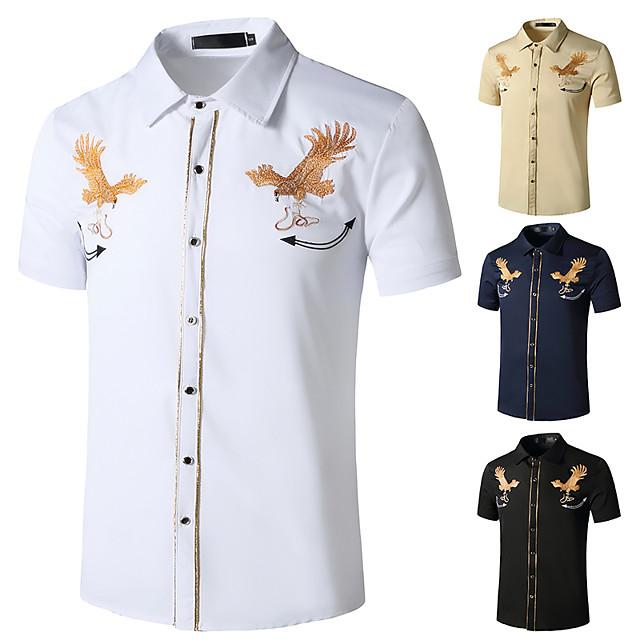 Men's Shirt Other Prints Graphic Short Sleeve Daily Tops White Black Khaki