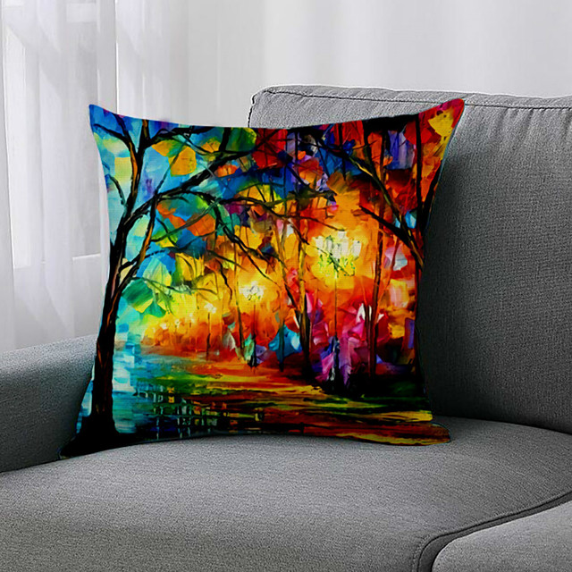 Double Side 1 Pc Botanical Cushion Cover  Print 45x45cm Linen for Sofa Bedroom