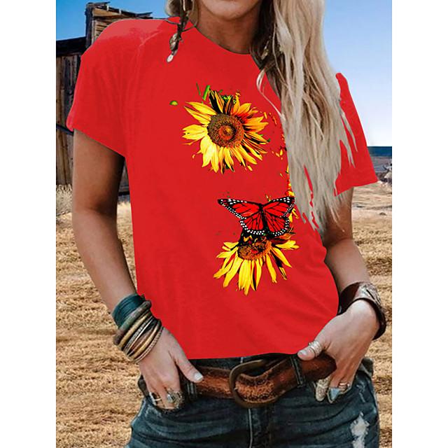 Women's T shirt Plants Floral Print Round Neck Tops Beach Basic Top White Black Blue
