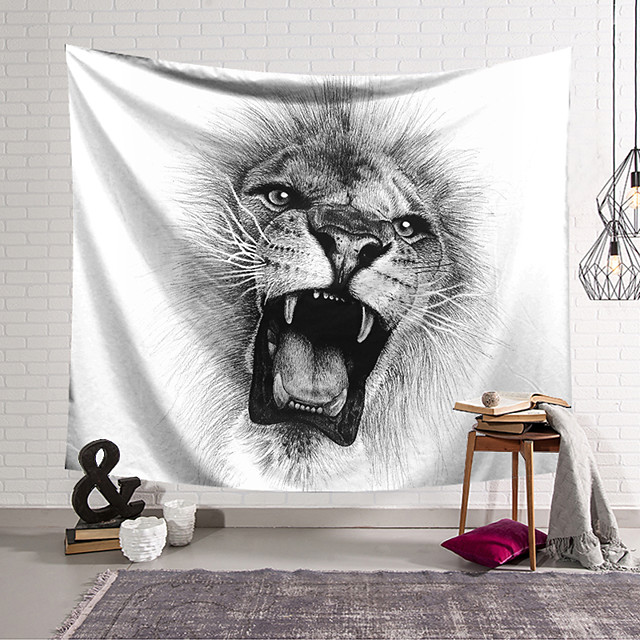 Wall Tapestry Art Decor Blanket Curtain Hanging Home Bedroom Living Room Decoration and Animal and Black and White