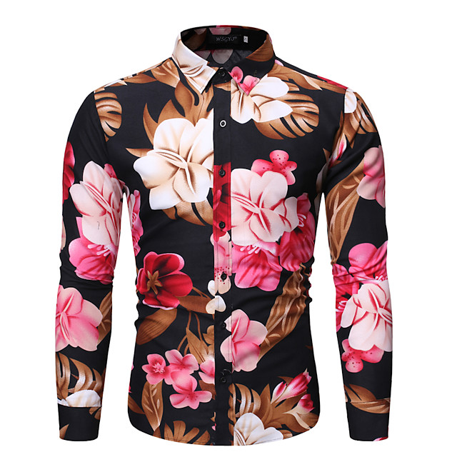 Men's Shirt Other Prints Floral Print Long Sleeve Holiday Tops Casual Tropical Black Navy Blue