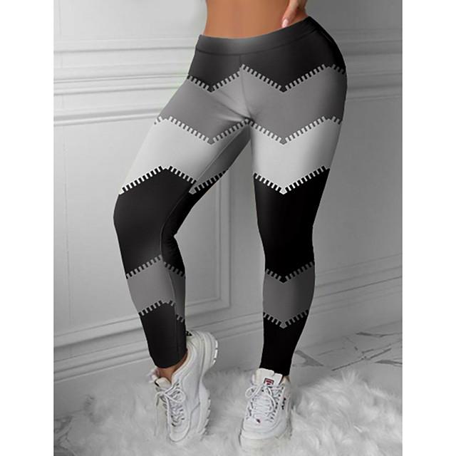 Women's Colorful Fashion Comfort Weekend Gym Leggings Pants Color Block Geometric Ankle-Length Sporty Elastic Waist Print Black
