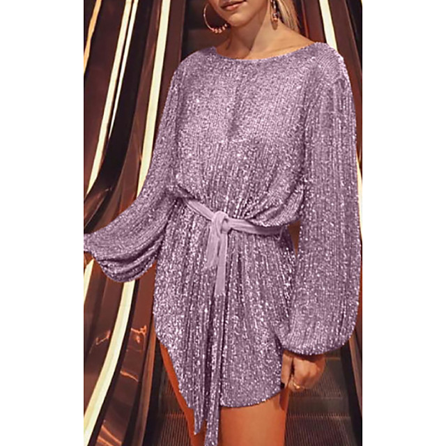 Women's Chiffon Dress Short Mini Dress Blushing Pink Long Sleeve Solid Color Patchwork Spring Summer Round Neck Casual 2021 S M L XL XXL