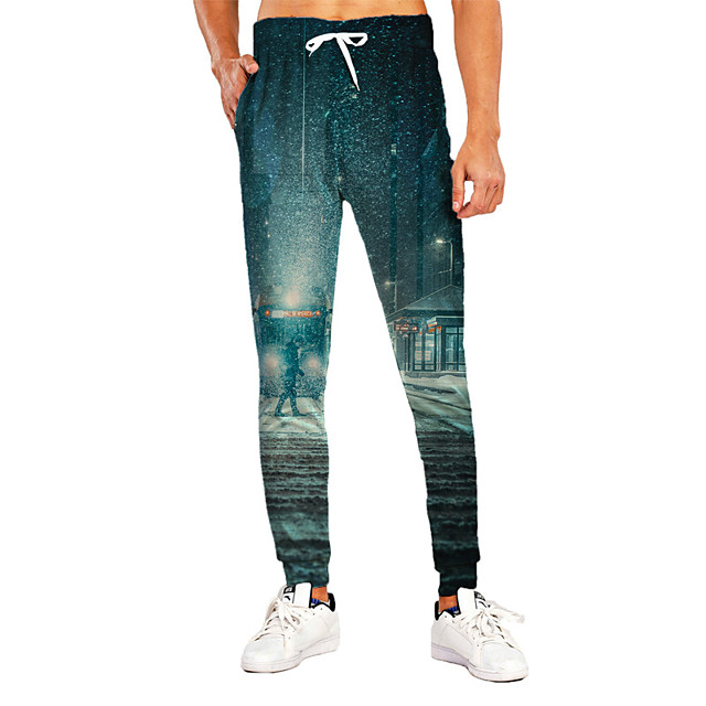 Men's Sporty Casual / Sporty Breathable Quick Dry Sports Daily Holiday Pants Sweatpants Trousers Pants Graphic Graphic Prints Full Length Print Blue