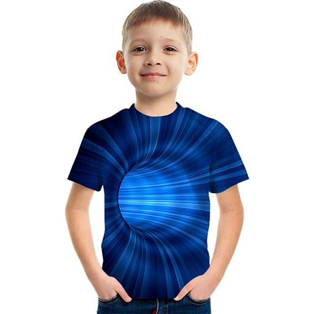 أطفال للصبيان تي شيرت كنزة مطبوعة كم قصير الفراغ الرسم 3D طباعة ألوان متناوبة 3D أزرق أطفال قمم الصيف نشيط كاجوال / يومي أناقة الشارع 3-12 سنة / الرياضات