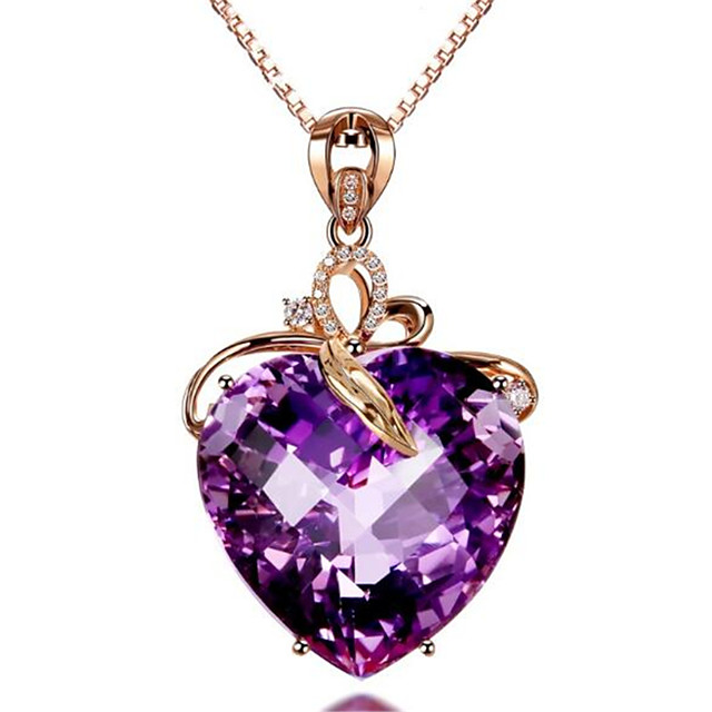Women's Amethyst Pendant Necklace Charm Necklace Classic Heart Precious Fashion Zircon Copper Gold Plated Purple 45 cm Necklace Jewelry 1pc For Christmas Wedding Party Evening Street Gift