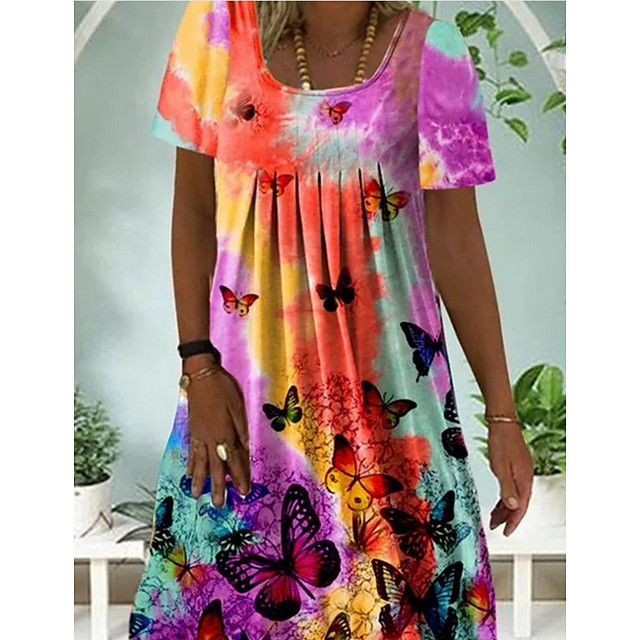 Women's A Line Dress Short Mini Dress Blue Purple Yellow Orange Short Sleeve Print Color Block Tie Dye Patchwork Print Summer Round Neck Casual 2021 S M L XL XXL 3XL 4XL 5XL