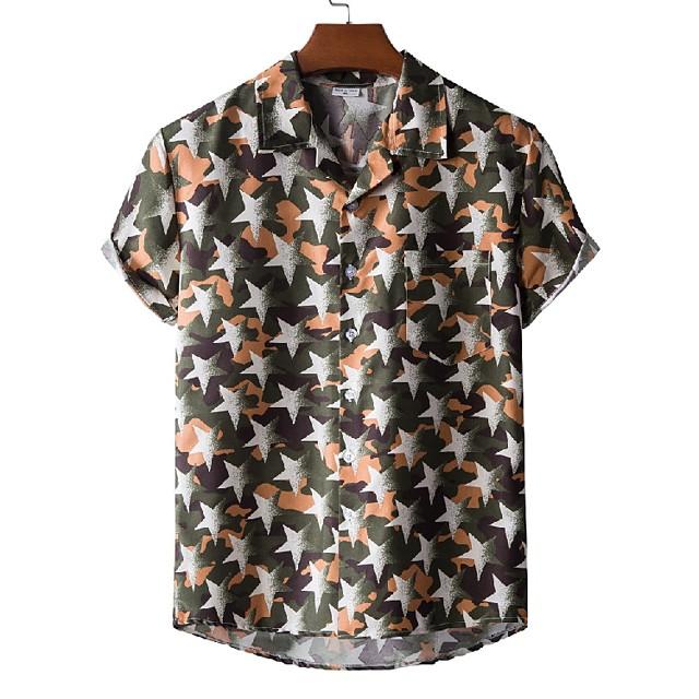 Men's Shirt Other Prints Star Print Short Sleeve Casual Tops Beach Tropical Army Green