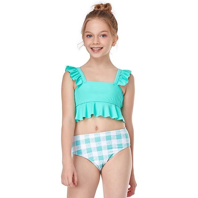 Kids Girls' Swimwear Print Ruffle Patchwork Sleeveless Active Blue Red Orange