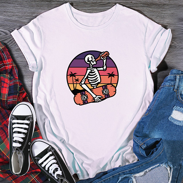 Women's T shirt Graphic Print Round Neck Tops 100% Cotton Basic Basic Top White Black Purple
