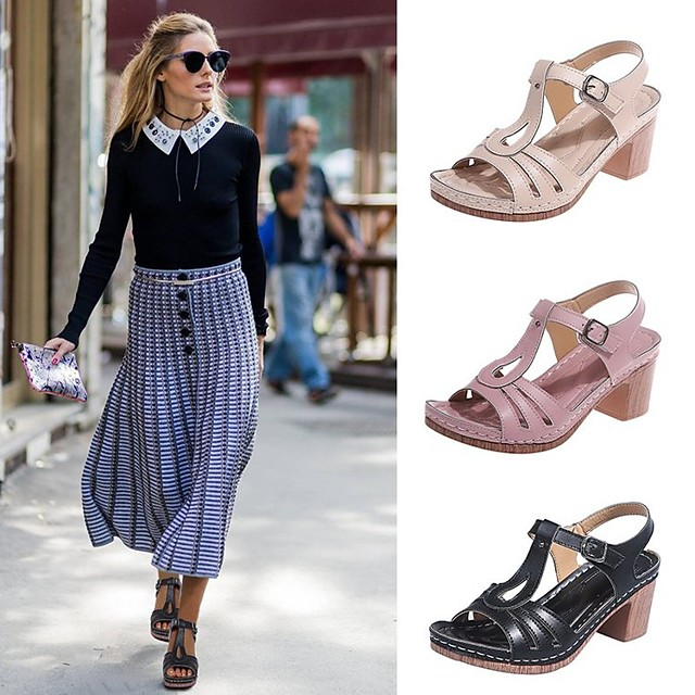 Women's Sandals Flat Heel Round Toe Rubber Solid Colored Black Pink Beige