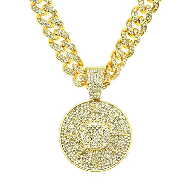 Men's Long Necklace Cuban Link Trendy Alloy Gold 55 cm Necklace Jewelry 1pc For Street