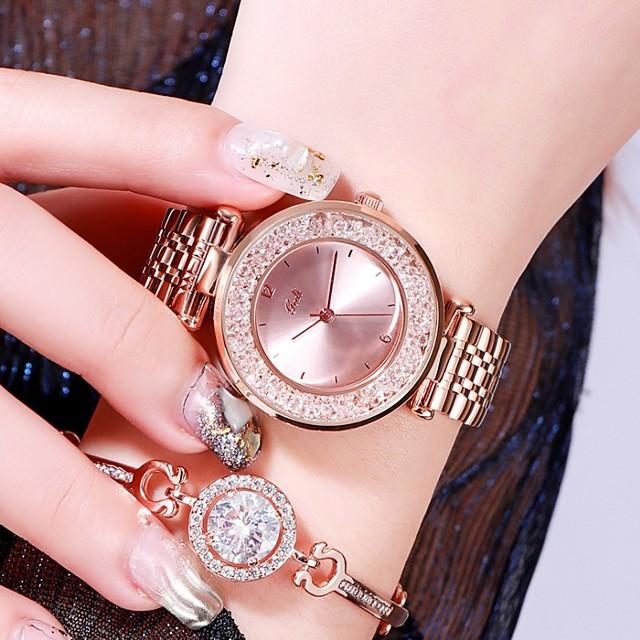 여성용 스테인레스 스틸 아날로그 석영 스타일리쉬 글리터 사치 방수 다이아몬드