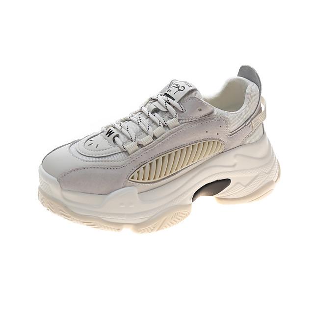 نسائي أحذية رياضية كعب مسطخ أمام الحذاء على شكل دائري كلاسيكي مناسب للبس اليومي جلد جلد الخنازير ألوان متناوبة أزرق البيج