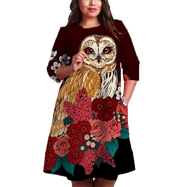 Women's Plus Size Dresses Shift Dress Knee Length Dress 3/4 Length Sleeve Floral Color Block Animal Print Casual Fall Red XL XXL 3XL 4XL 5XL / Holiday