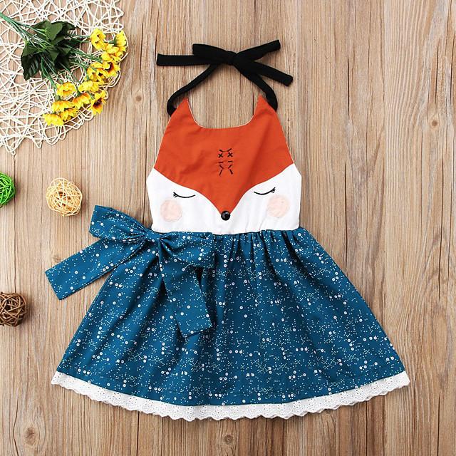 Kids Little Girls' Dress Graphic Bow Print Blue Knee-length Long Sleeve Active Dresses Summer Regular Fit 2-6 Years