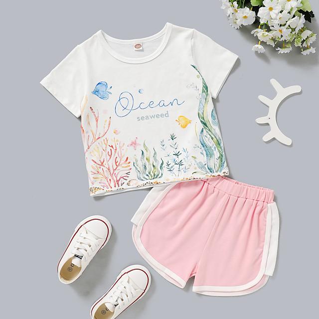 Kids Toddler Girls' Clothing Set Daily Wear Graphic Print Short Sleeve Active Regular Above Knee White 2-8 Years