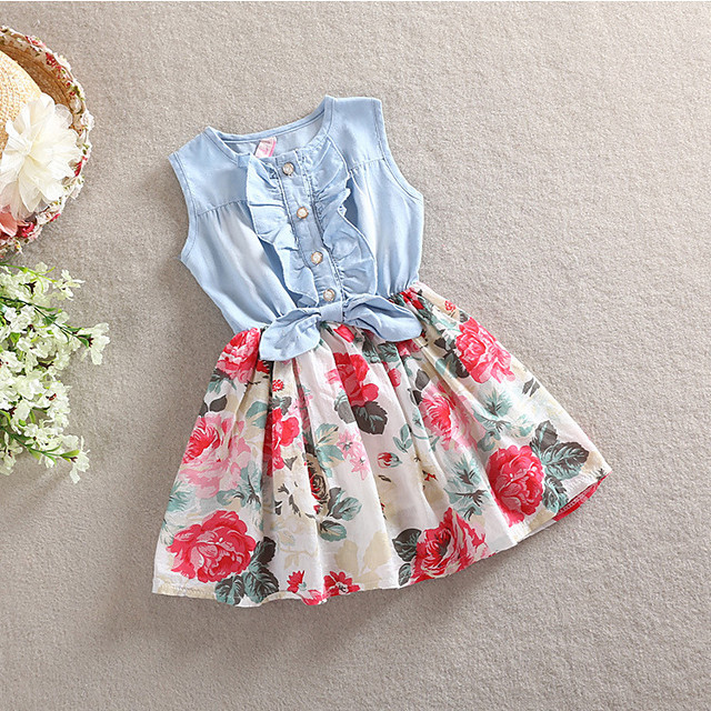 Kids Toddler Little Girls' Dress Floral Sundress Daily Holiday Bow White Red Sleeveless Active Cute Dresses Summer Regular Fit 2-12 Years