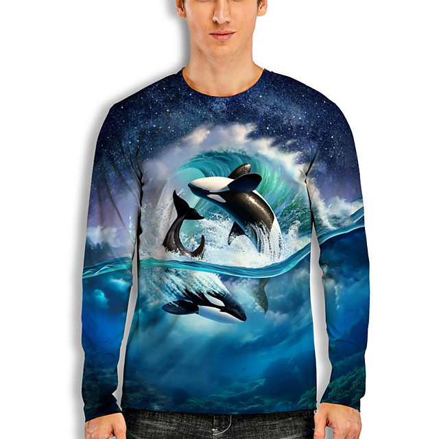 Men's T shirt 3D Print Graphic Prints Fish Animal 3D Print Long Sleeve Daily Tops Basic Casual Hawaiian Blue