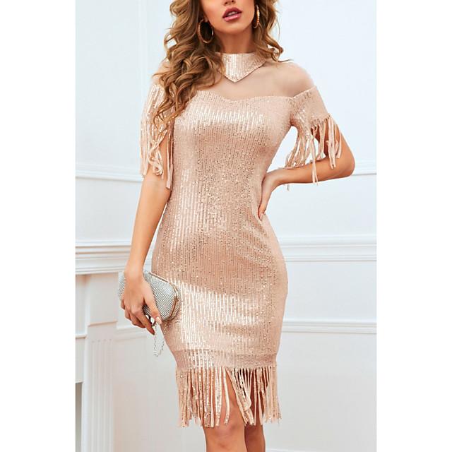 Women's A Line Dress Knee Length Dress Golden Sleeveless Solid Color Color Block Sequins Patchwork Summer Round Neck Casual 2021 S M L XL XXL