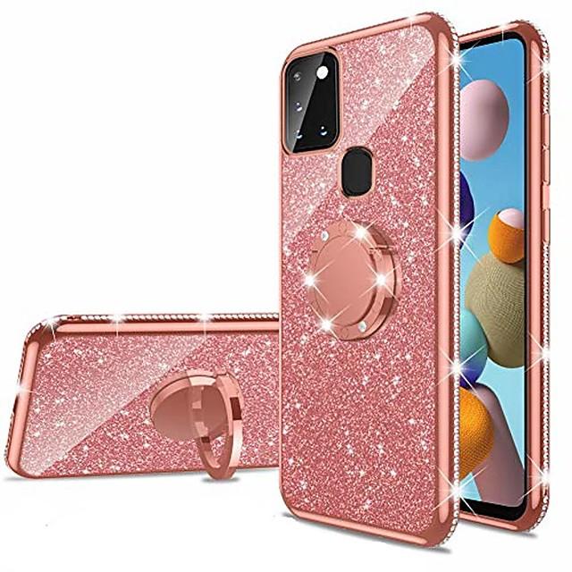 telefono Custodia Per Samsung Galaxy Per retro Silicone A91 / M80S A51 Galaxy A81 / M60S Galaxy A71 A21s Con diamantini Con supporto Supporto ad anello Glitterato TPU