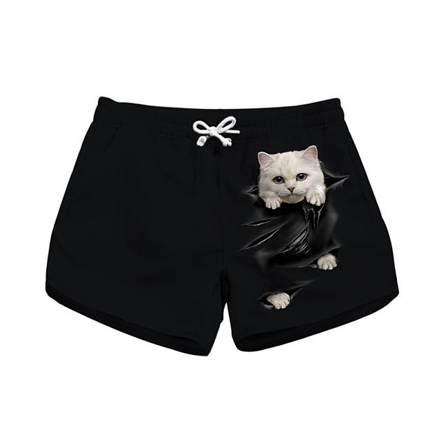 نسائي أنيق حديث راحة رياضة وترفيه عطلة نهاية الاسبوع شورتات بنطلون قطة 3D مطبوعات غرافيك باختصار رياضي مرونة الخصر طباعة أسود