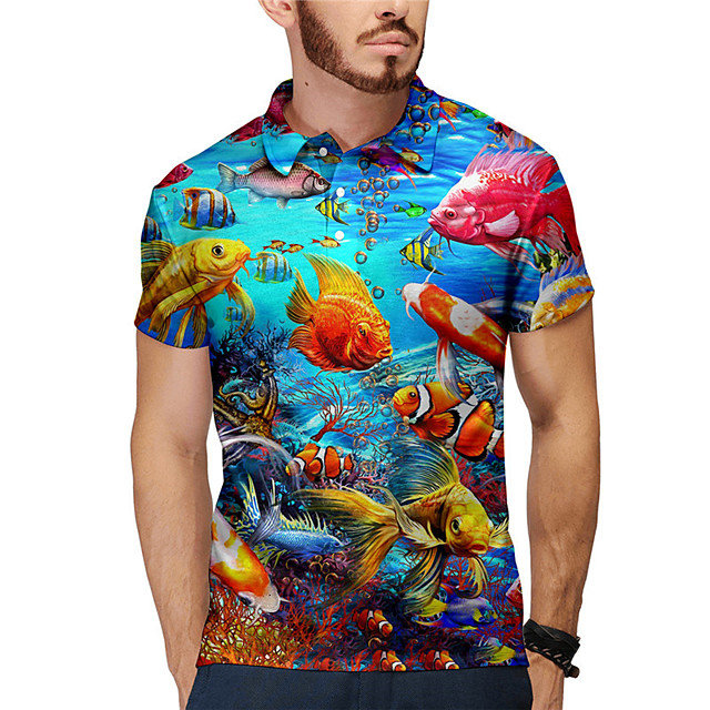 Men's Polo 3D Print Graphic Prints Fish Animal Button-Down Print Short Sleeve Daily Tops Casual Designer Big and Tall Blue
