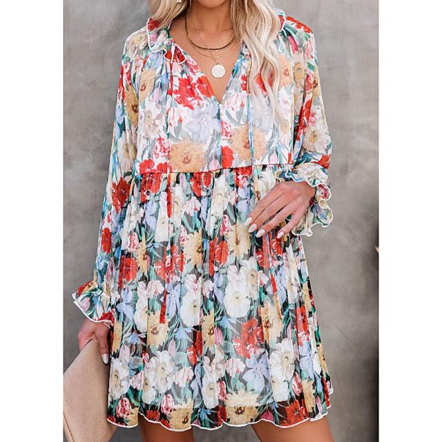 نسائي فستان شكل حرف A فستان ميني التقزح اللوني كم طويل ورد مكشكش بقع طباعة الخريف الصيف V رقبة أنيق كاجوال 2021 XS S M L