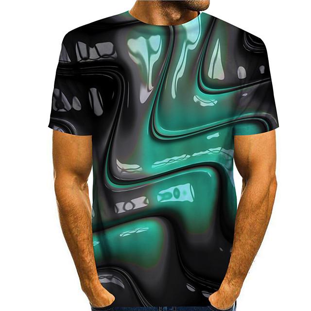 رجالي تي شيرت طباعة ثلاثية الأبعاد الرسم مطبوعات غرافيك 3D طباعة كم قصير مناسب للبس اليومي قمم أساسي كاجوال أخضر-أسود